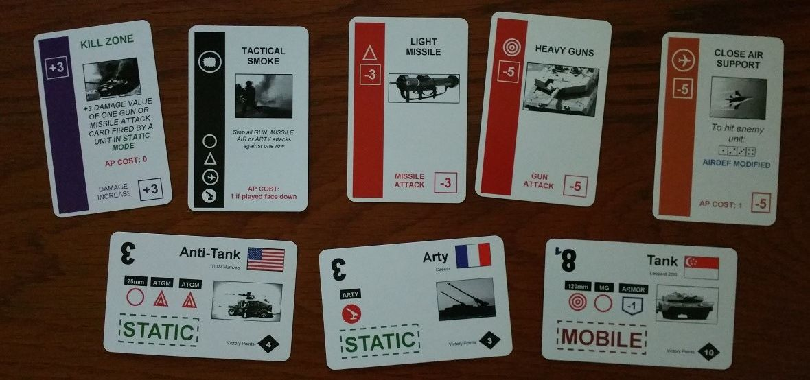 Tactical Armoured Combat modern warfare card game sample cards