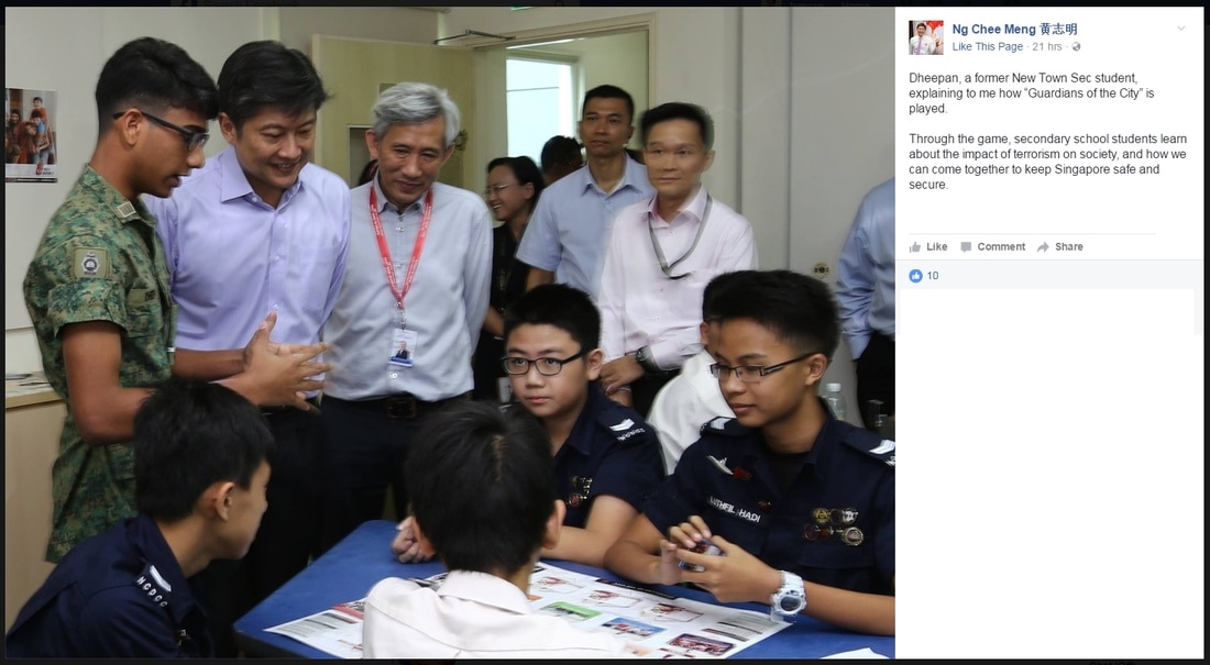 Senior Minister of State Ng Chee Meng posting about Guardians of the City on Facebook.