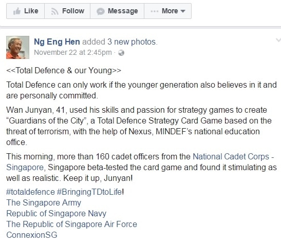 Defence Minister facebook post about Guardians of the City card game